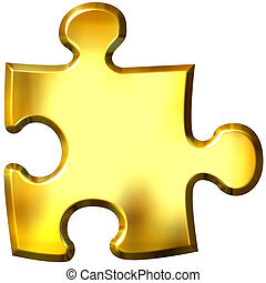 3d golden puzzle piece isolated in white