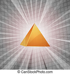 3D golden pyramid background