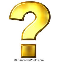 3D Golden Question Mark - 3d golden question mark isolated...