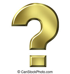 3D Golden Question Mark