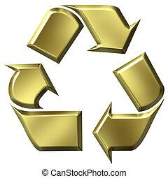 3D Golden Recycle Symbol