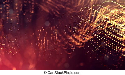 3d golden red background with fantastic luminous particles. Looped 3d animation with depth of field, light effects. Modern digital background. Curved lines 10