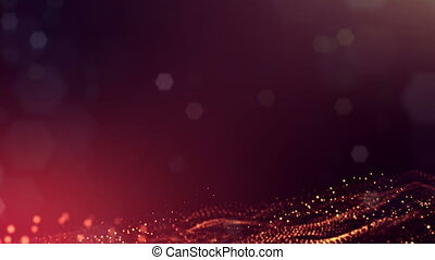 3d golden red background with fantastic luminous particles. Looped 3d animation with depth of field, light effects. Modern digital background. Curved lines 20