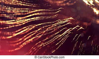 3d golden red background with fantastic luminous particles. Looped 3d animation with depth of field, light effects. Modern digital background. Curved lines 12