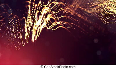 3d golden red background with fantastic luminous particles. Looped 3d animation with depth of field, light effects. Modern digital background. Curved lines 6