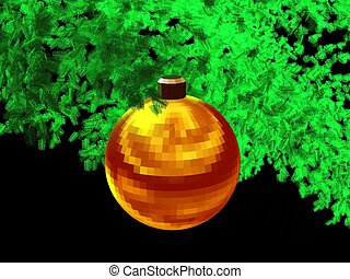 3D-Golden red ball-b