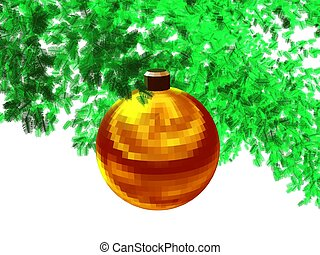 3D-Golden red ball-w