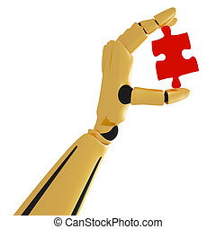 3d golden robotic hand with puzzle