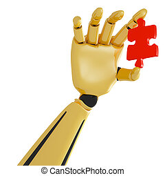 3d golden robotic hand with red puzzle