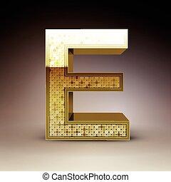 3d golden sequins letter E