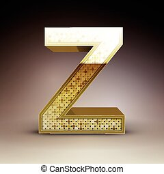 3d golden sequins letter Z