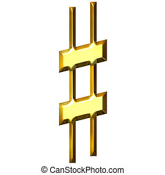 3D Golden Sharp Symbol - 3d golden sharp symbol isolated in...