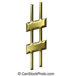 3D Golden Sharp Symbol