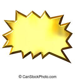 3D Golden Shout Bubble - 3d golden shout bubble isolated in...
