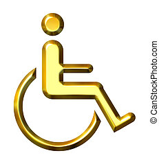 3D Golden Special Needs Symbol - 3d golden special needs ...