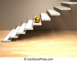 golden sphere on white stairs. render