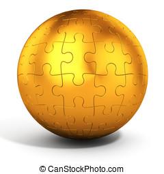 3d golden spherical puzzle