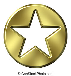 3D Golden Star Badge