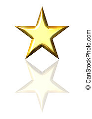 3d golden star with reflection
