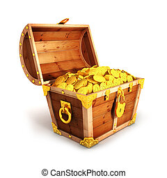3d golden treasure chest, isolated white background, 3d image