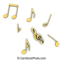 3d Golden treble clef