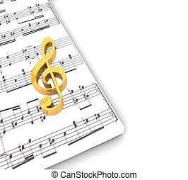 3d golden treble clef music paper around on a white background