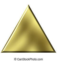 3d golden triangle isolated in white