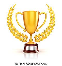 3d golden trophy and laurel