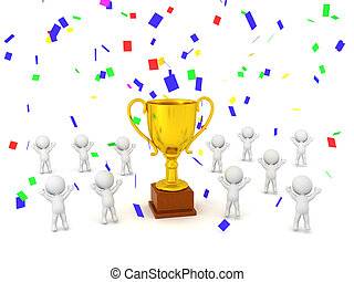 3D Golden Trophy with Confetti and Many 3D Characters Jumping for Joy
