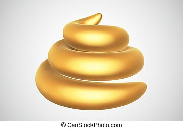 3D golden turd isolated on white background.