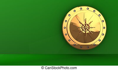 3d golden vault door - 3d illustration of golden vault door...