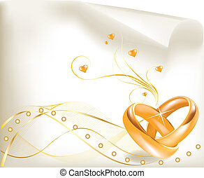 3D golden wedding rings