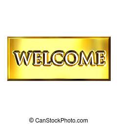 3D Golden Welcome Sign - 3d golden welcome sign isolated in...
