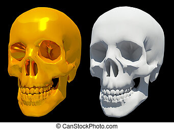 3d golden, white skull