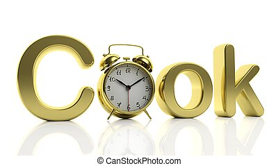 "3D golden word Cook with alarm clock as letter ""O"", isolated on white background."