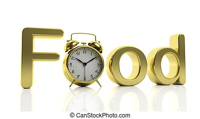 "3D golden word Food with alarm clock as letter ""O"", isolated on white background."