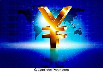 3d golden Yen sign with world