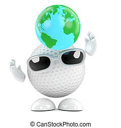 3d Golf ball globe