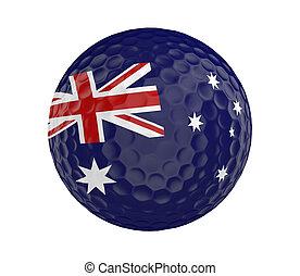 3D golf ball with flag of Australia