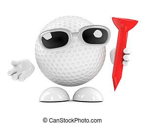 3d Golf ball with tee - 3d render of a golf ball character...
