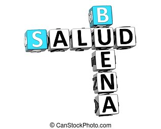 3D Good Health (Buena Salud) Crossword on white background