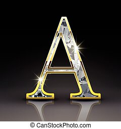 3d gorgeous diamond letter A isolated on black background