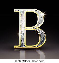 3d gorgeous diamond letter B isolated on black background