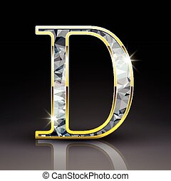 3d gorgeous diamond letter D isolated on black background