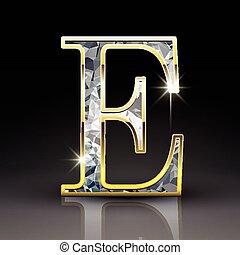 3d gorgeous diamond letter E