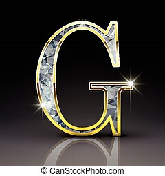 3d gorgeous diamond letter G isolated on black background
