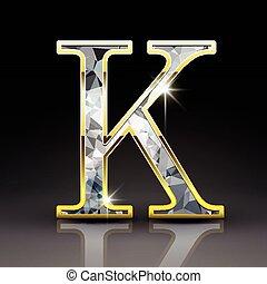 3d gorgeous diamond letter K isolated on black background