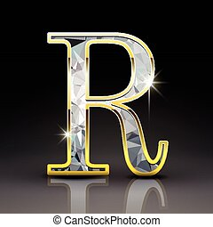 3d gorgeous diamond letter R
