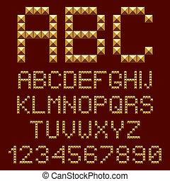 3d, goud, alfabet, letters.