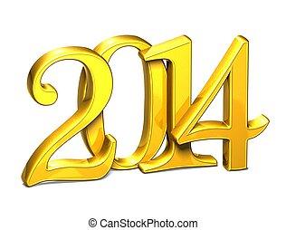 3d, goud, jaar, 2014, op wit, achtergrond